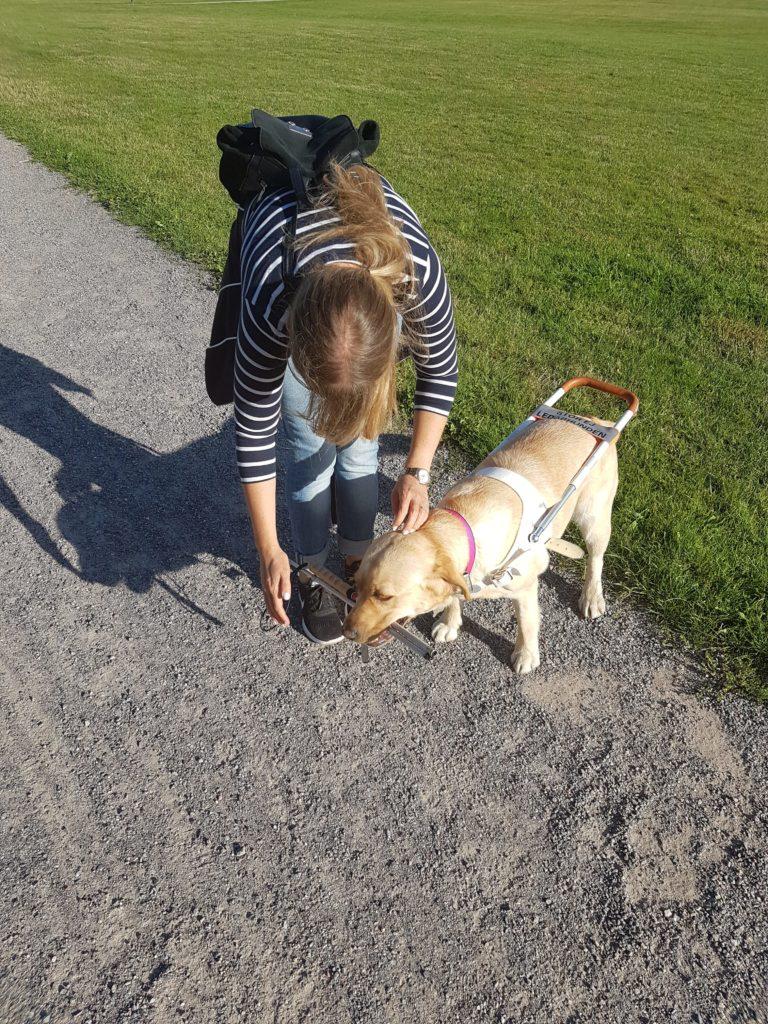 Jag och Chanti tränar. Vi står på en grusgång intill en gräsmatta. Chanti nosar på gruset. Jag har på mig en vitrandig blå tröja och ryggsäck.