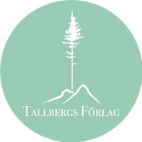 Logo Tallbergs förlag. En ljusgrön cirkel med vit symbol föreställande en tall och två kullar. Undertill står Tallbergs Förlag i vit text.