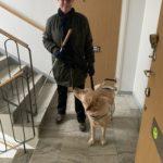 Jag med min ledarhund chanti i trappuppgången på väg ut