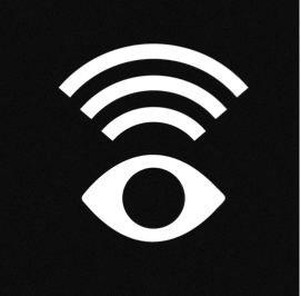 Bild av ett stiliserat öga (vitt, med helt svart iris) och ovanför tre vita böjda streck från ögat , som liknar Ljudvågor.