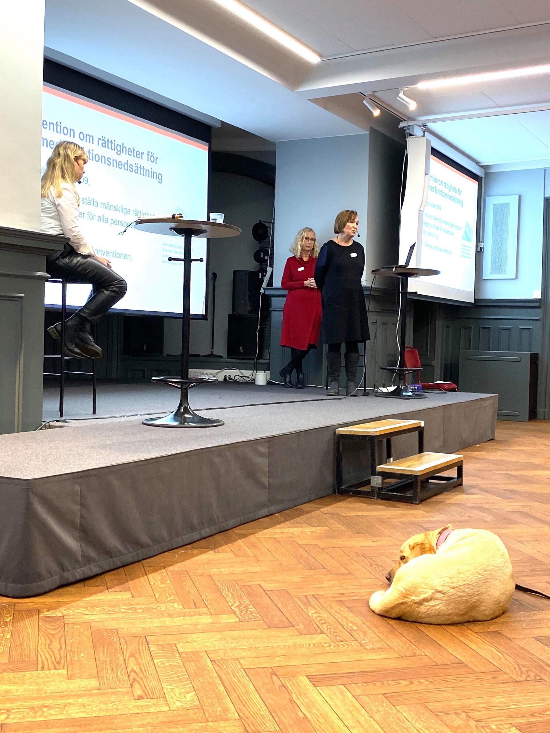 Jag sittandes vid ett ståbord på en scen med två talare ståendes vid ett ståbord på en scen. I bakgrunden syns två projektordukar med text.