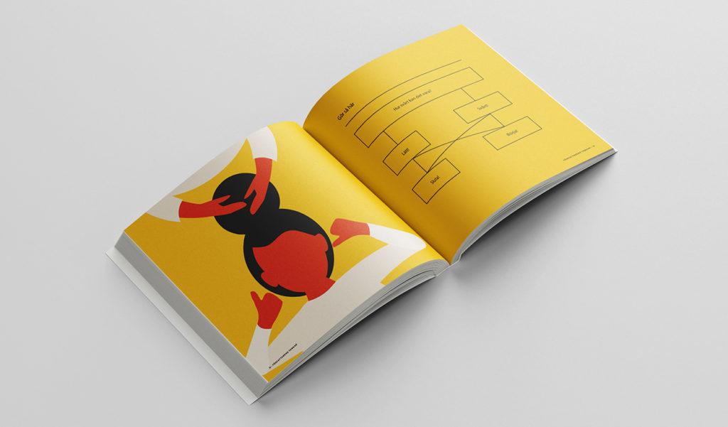 """Ett uppslag i boken. Till vänster en illustration med gul bakgrund. En person med svart hår och vit tröja håller upp sina händer. Hens hår är formad till en stor knut som någon annan håller i sina händer. Till höger visas modellen """"Hur svårt kan det vara?""""."""